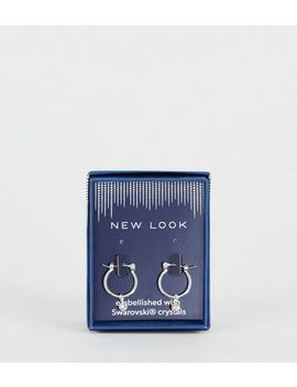 Silver Hoop Earrings With Crystals From Swarovski® by New Look