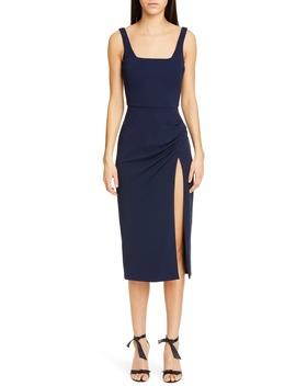 Square Neck Side Slit Midi Dress by Cushnie