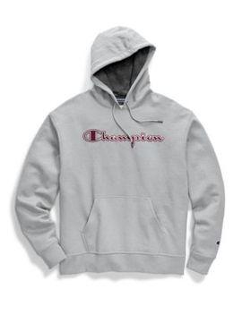 Champion Men's Powerblend® Fleece Pullover Hoodie, Chainstitch Outline Logo by Champion