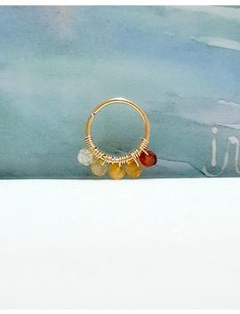16g 18g 20g 22g Gold Natural Citrine 2 Mm Helix Ring  Gold Cartilage Earring  Tiny Silver Hoop Ring  Citrine Jewelry   7 12mm Inner Diameter by Etsy