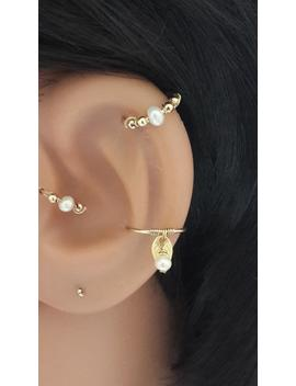 Freshwater Pearl Cartilage Earring  Gold Beaded Silver Cartilage Piercing Helix Jewelry 16g 18g 20g 22g   Gift Idea   June's Birthstone by Etsy