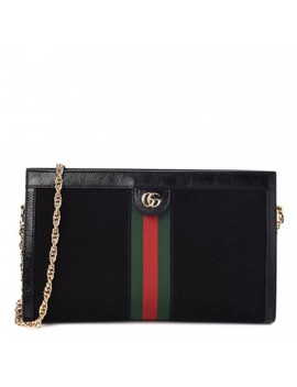 Gucci Patent Calfskin Suede Web Medium Ophidia Shoulder Bag Black by Gucci