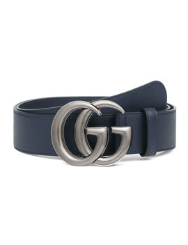 Men's Running Gg Leather Belt by Gucci