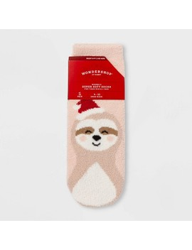 "Women's Sloth ""For Your Mistle Toes"" Cozy Socks With Gift Card Holder   Wondershop™ Peach One Size by Wondershop"