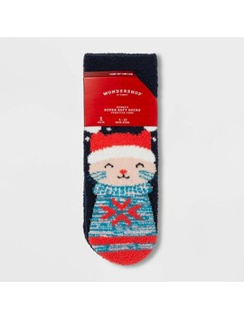 "Women's Cat ""Pawsitive Vibes"" Cozy Socks With Gift Card Holder   Wondershop™ Navy One Size by Wondershop"