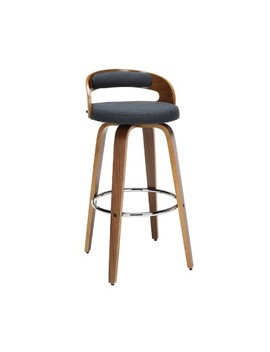 "30"" Low Back Bentwood Frame Mid Century Modern Swivel Seat Stool With Fabric Back And Cushion   Ofm by Shop This Collection"