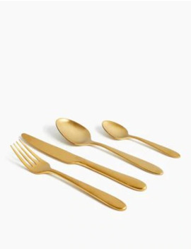 16 Piece Maxim Brushed Gold Cutlery Set by Marks & Spencer