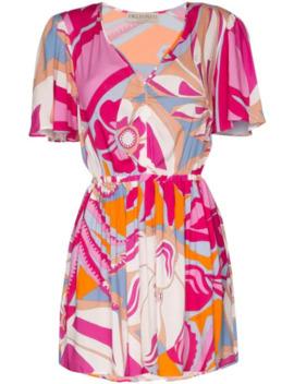 Short V Neck Print Dress by Emilio Pucci