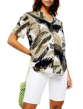 Palm Print Bowler Shirt by Topshop