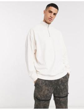 Asos Design – Velour – Bluza Oversize Z Golfem W Kolorze Złamanej Bieli by AsosDesign