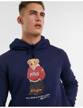 Polo Ralph Lauren Hoodie In Navy With Bear Logo by Polo Ralph Lauren
