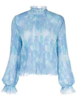 Floral Print Pleated Blouse by Ganni