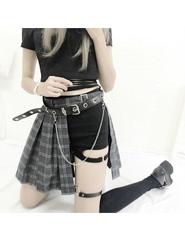 Harajuku Punk Style Plaid Irregular Skirts Women Asymmetrical High Waist Skirts Pleated Girls Gothic Half Skirts Fashion Skirt by Ali Express.Com