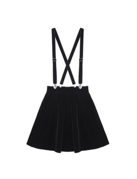 Women's Skirt Harajuku Velvet Punk Love Clip Strap Skirt For Female Ladies Mini Skirts Black Color Girls Mini Skirts by Ali Express.Com