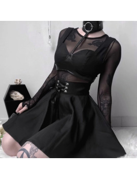 Women's Punk Style High Waist Black Mini Skirts Female Girls A Line Lace Up Ribbon Cross Fashion Skirts by Ali Express.Com