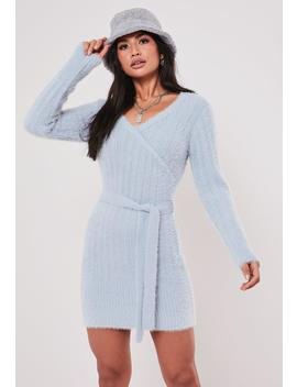 Blue Fluffy V Neck Wrap Tie Dress by Missguided