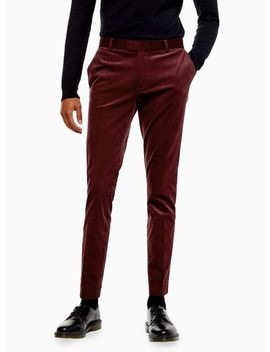 Burgundy Corduroy Super Skinny Fit Suit Trousers by Topman