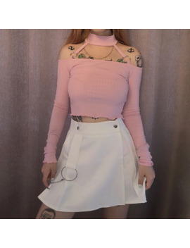 Chic Metal Chain Women's Solid Color High Waist Stitching Pleated Skirts Preppy Style Sweet Girls Fashion Mini Skirts by Ali Express.Com