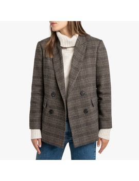 Wool Mix Checked Blazer With Double Breasted Buttons And Pockets by La Redoute Collections