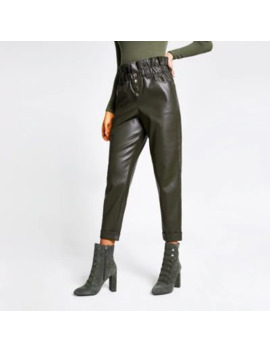 Khaki Faux Leather Paperbag Button Trousers by River Island