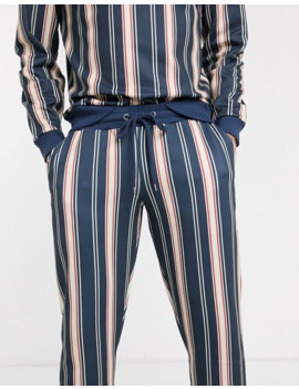 Asos Design Co Ord Skinny Joggers In Navy With Multi Stripes by Asos Design