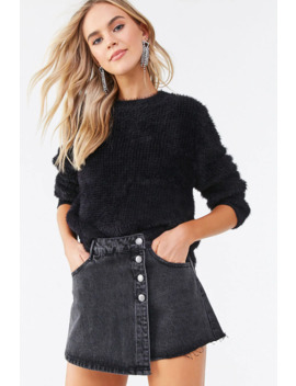 Frayed Denim Mini Skort by Forever 21
