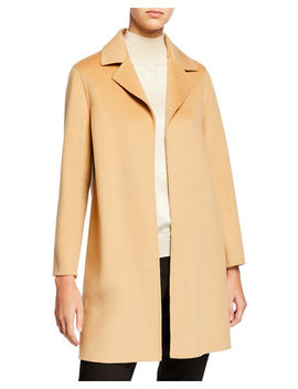 Double Face A Line Cashmere Coat W/ Notch Collar by Neiman Marcus Cashmere Collection