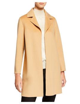 Double Face A Line Cashmere Coat W/ Notch Collar by Neiman Marcus Cashmere Collection