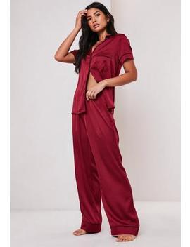 Burgundy Satin Pyjama Bottoms by Missguided