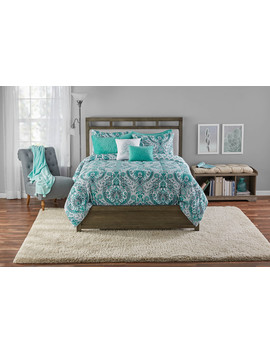 Mainstays Brynn Damask Reversible Comforter Set W/Bonus Quilt, Full/Queen by Mainstays