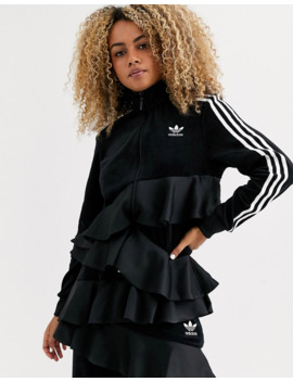 Adidas Originals X J Koo Trefoil Ruffle Track Top In Black by Adidas