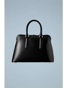 Embossed Animal Print Leather Tote Handbag by Zara