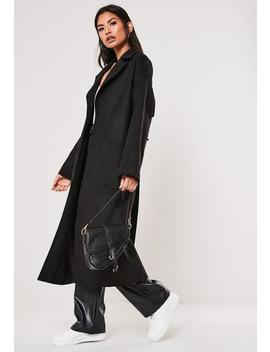 Black Patch Pocket Maxi Belted Coat by Missguided