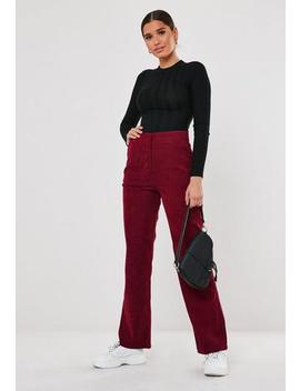 Burgundy Cord Tailored Straight Leg Trousers by Missguided
