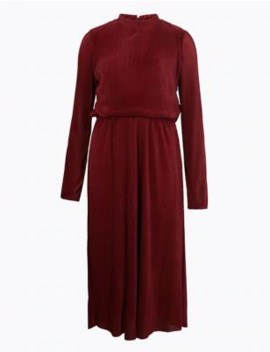 Plisse Waisted Midi Dress by Marks & Spencer