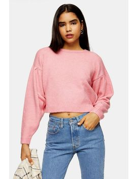 Pink Pleated Shoulder Cropped Knitted Jumper by Topshop