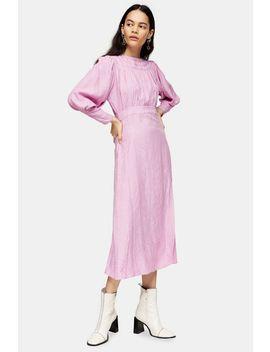 Pink Jacquard Midi Dress by Topshop