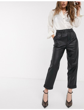 Stradivarius Faux Leather Slouchy Trouser In Black by Stradivarius'