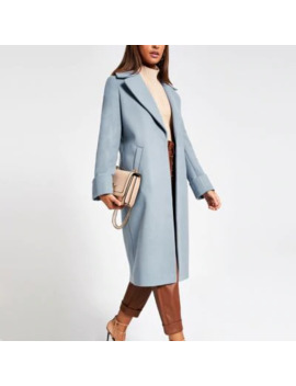 Blue Longline Single Breasted Coat by River Island