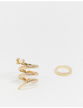 Asos Design Pack Of 2 Rings With Snake And Pearl Detail In Gold Tone by Asos Design