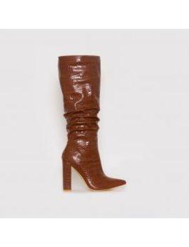 Dakota Tan Croc Print Ruched Knee Boots by Simmigirl