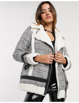 River Island Boucle Aviator Jacket In Cream by River Island