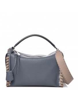 Fendi Calfskin Selleria Whipstitch Lei Boston Tote Corda Tortora Peacock by Fendi