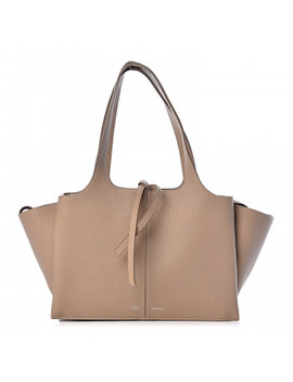 Celine Baby Grained Calfskin Small Tri Fold Bag Light Taupe by Celine
