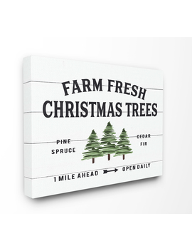 The Stupell Home Decor Collection White Planked Look Holiday Farm Fresh Christmas Trees Spruce And Fir Stretched Canvas Wall Art, 16 X 1.5 X 20 by The Stupell Home Decor Collection