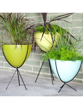 Hip Haven Retro Bullet Fiberglass Planter With Steel Stand by Hip Haven