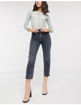 Topshop – Dunkelgraue Straight Jeans Mit Fransensaum by Asos