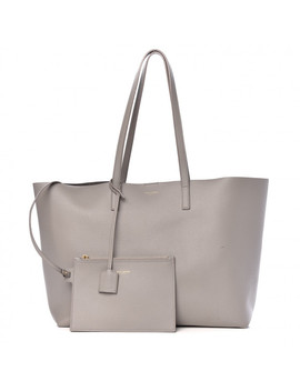 Saint Laurent Calfskin Large Shopping Tote Oyster Gray by Yves Saint Laurent