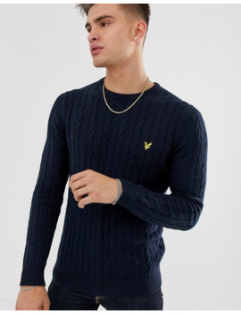 Lyle &Amp; Scott Cable Knit Crew Neck Wool Blend Jumper In Navy by Lyle & Scott