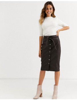 Oasis Faux Leather Midi Pencil Skirt In Brown by Oasis